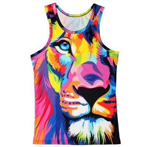 Funny Vest Men's Tank Tops Summer Slim Personalized Vest 3D Three-Dimensional Animal Pattern Print Vest Fitness Tank Tops Tees-geekbuyig