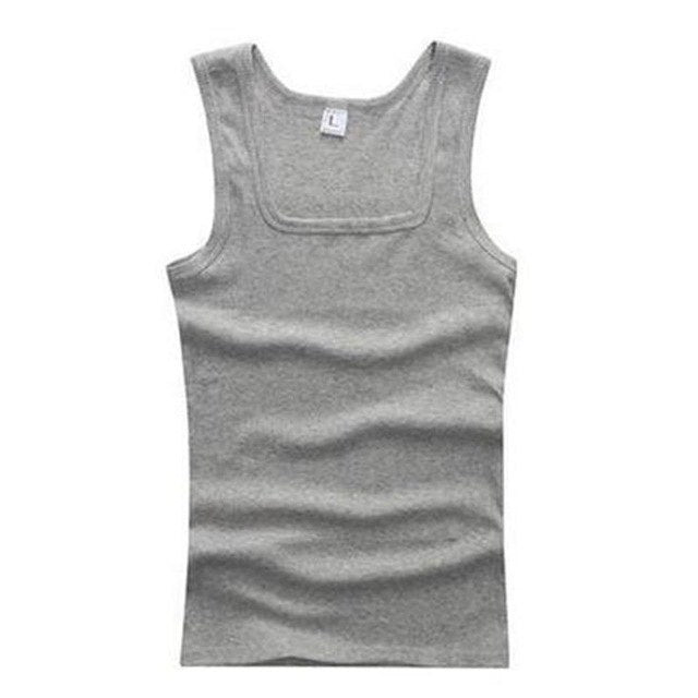 2018 New Summer Men Casual Tank Top Cotton Square Collar Solid Fitness Bodybuilding Sleeveless XXL Plus Size Men Tops Clothes-geekbuyig