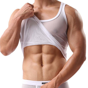 Hot Fashion Sexy Transparent Mesh Men Tank Tops For Fun Party Vest Tank Top Male Hot Underwear Lingerie-geekbuyig