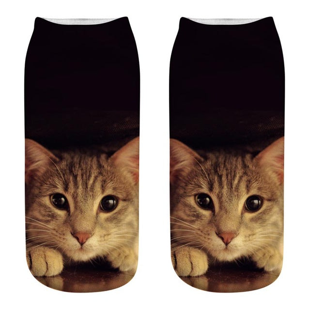 2019 New Emoji Cartoon cat Art funny socks Hot Sale 3d Printed womens sockslow cut ankle short spaort socks-geekbuyig