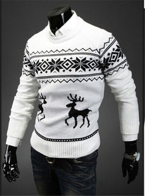 2019 England style men sweater Deer Pullovers reindeer sweater Slim O-Neck men sweater fashion men Christmas sweaters-geekbuyig