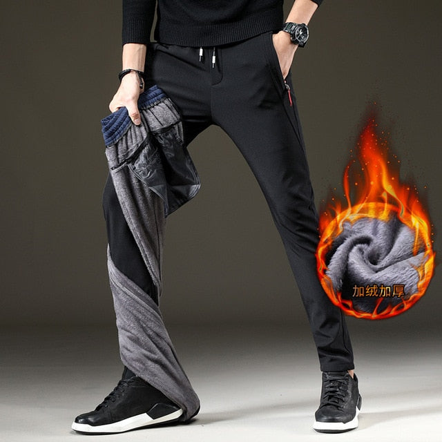 Mens Warm Pants for Winter Korean Slim Fit Fleece Lined Trousers Skinny Stretch Trousers Male Casual Elastic Waist Fashion Young-geekbuyig