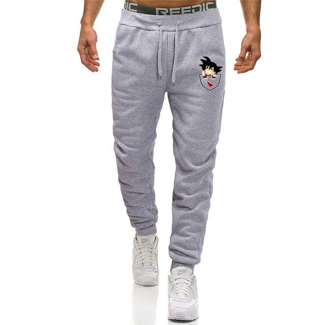 Casual Funny Print Dragon Ball Goku Mens Pants Cotton Autumn Winter Gray Men Joggers Sweatpants Plus Size Black Trouser pantalon-geekbuyig