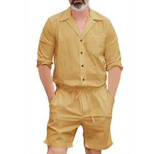 Plus Size Long Sleeve Jumpsuits Men Button Overalls With Pockets Autumn Coveralls Trousers Working Casual Playsuits Male 2018-geekbuyig