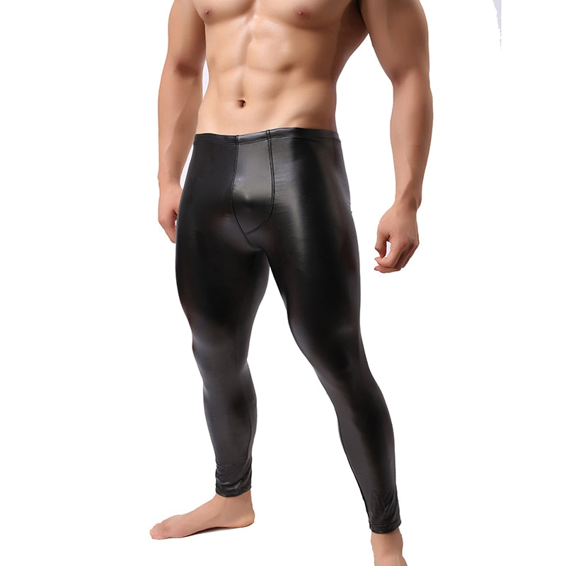 Stretch Leggings Men's Sexy Pants Paux Leather Trousers Tights Bodybuilding Exotic Pants PVC Long Trousers V48-geekbuyig