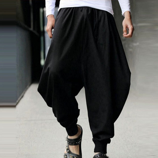 2018 Summer Men Casual Harem Loose Pants Low Drop Crotch Wide-Leg Long Trousers Male Japanese Samurai Style Cropped Linen Pants-geekbuyig