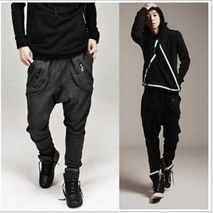 2018 Spring&Autumn Males Harem Pants Fashion Zipper Cross Leisure Trousers Casual Loose Long Pants M~XXL-geekbuyig