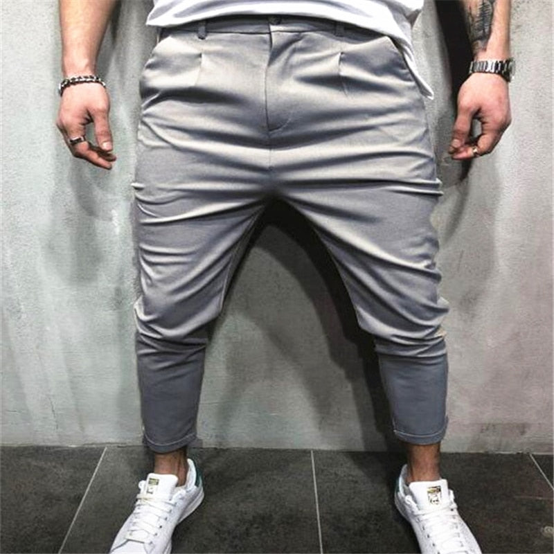 New Arrival Men Vogue Pencil Pants Solid Harem Pants Man Zip Pockets Slim Fit Straight Leg Trousers Casual Jogger Cargo Pants-geekbuyig