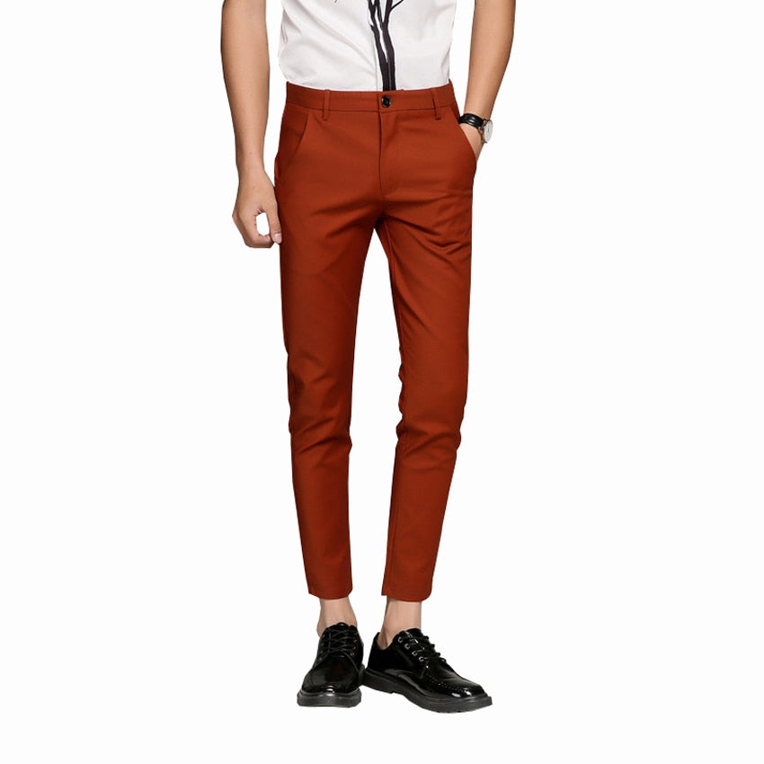 2019 New Mens 5 Color Slim Soft Stretch Casual Pants Dress Trouser brown black coffee orange Size 28-38-geekbuyig