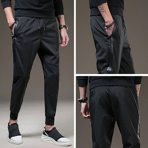 Men Casual Elastic Waist Sweatpants 2018 Autumn Male Sportswear Fitness Straight Trousers Men's Fashion Sweat Long Black Pants-geekbuyig