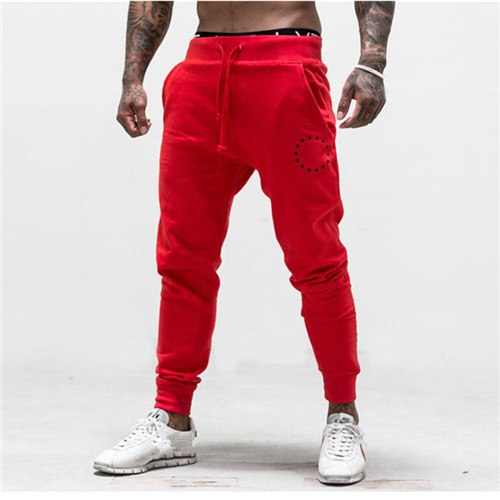 2018 Mens New Fitness Red Pencil Trousers Casual Skinny Long Pants-geekbuyig