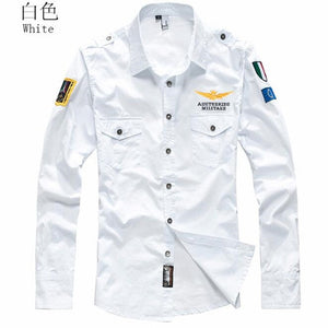 2019 Shirt Air Force One Men Shirt Long Sleeve Slim Fit Aeronautica Militare Men Dress Shirt 4XL Camisas Hombre Camisa Masculina-geekbuyig