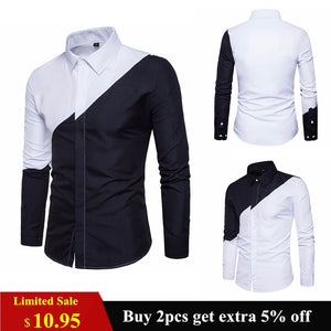 2018 Mens Cotton Black White Stitching Color Shirts Casual Slim Fit Fashion Man Lapel Large Size Long-sleeved Shirts Male S-2XL-geekbuyig