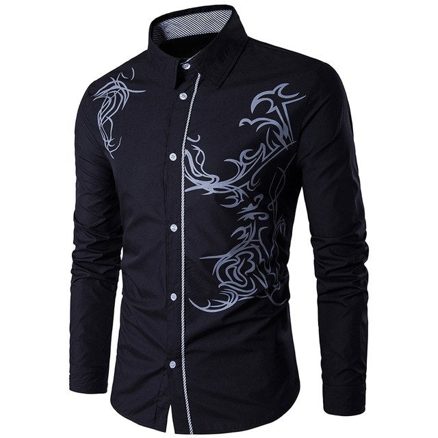 Men Shirt 2019 Spring New Men's Fashion Dragon Print Slim Fit Casual Social Business Long-sleeved Shirt Brand Camisa Masculina-geekbuyig