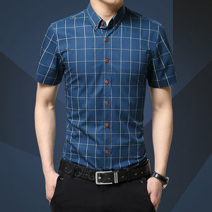 Men Clothes 2019 New Shirt Summer Camisa Masculina Fashion Business Plaid Shirt Casual Short Sleeve Social Dress Shirt 5XL-geekbuyig