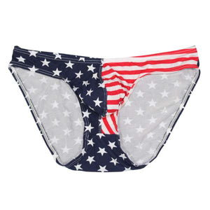 1pc Men Underwear Sexy Briefs Large Size Stars Stripes Flag Breathable Soft Pockets Panties Classic Cut Sexy Briefs-geekbuyig