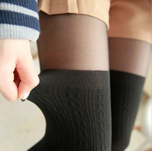 2019 tights women Spring Autumn style Women Girls Cute Black Twisted Knee Stockings Twisted Pantyhose Tights Female Pantys-geekbuyig