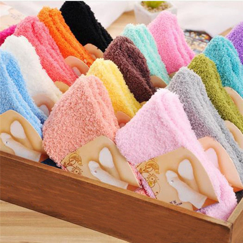 Fashion Ladies Home Women Girls Soft Bed Floor Socks Fluffy Warm Winter Pure Color Candy Sock coral velvet Elastic Breathable-geekbuyig