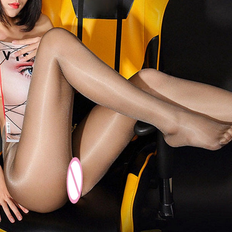 New Style Sexy Crotchless Oil Stocking Shiny Sexy Pantyhose Open Crotch Tights for Women Nylons High Waist Lady Stockings-geekbuyig
