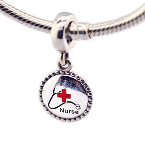Nurse Dangle Beads Fits Snake Chain Bracelet S925 Sterling Silver Pendant Charms Silver 925 Original Jewelry Making Berloque-geekbuyig