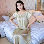 2018 NEW Summer Ice Silk Nightgown Female Home Service Loose Plus size Comfort Imitation Silk Sexy Pregnant Woman Nightdress Z37-geekbuyig