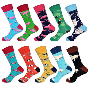 Men's Dress Socks Novelty Alien Animals Flamingo Macaw Sheep Cat Pig Cow Cotton Art Funny Happy Harajuku Hip Hop Warm for Men-geekbuyig