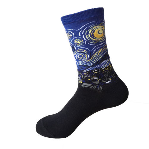 Fashion Stylish 12 Patterns Starry Night Art Painting Socks Van Gogh Modern Renaissance-geekbuyig
