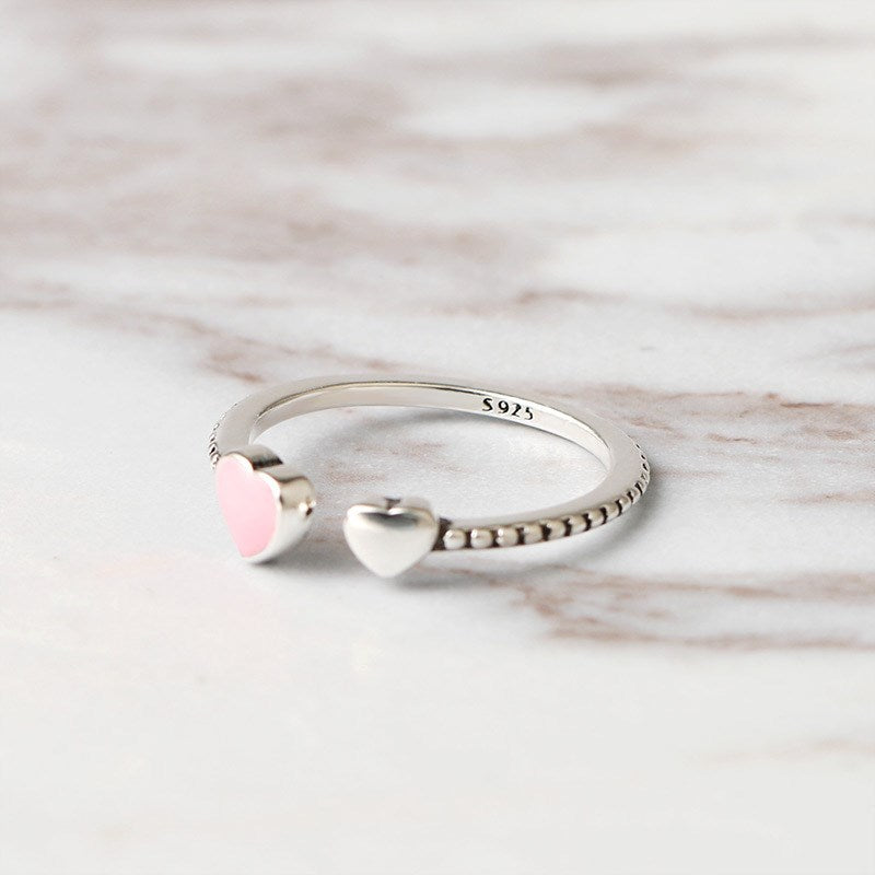 2019 Hot Sale Fashion jewelry 925 Silver Crystal from Swarovski Simple wild small love opening ring Fit Women and female as gift-geekbuyig