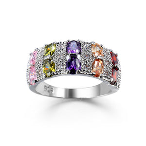 Wholesale Beautiful Simple Jewelry 8 Colors Crystal from Austrian Ring with Zircon Fit Women and Man Wedding or party-geekbuyig