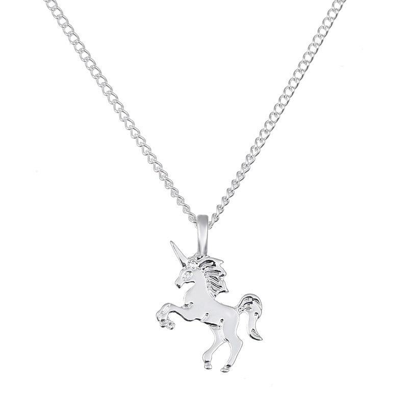 VAN3 For Kim Silver Pendant Necklaces Simple Style Women Birthday Gifts have three colors choose Sky horse pattern-geekbuyig