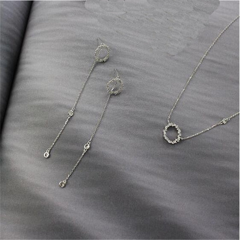 Jsmpfy AAA Zircon Choker Necklaces Drop Earrings Jewelry Set 100% 925 Sterling Silver Zircon Hollow Round Circle Necklace Sets-geekbuyig