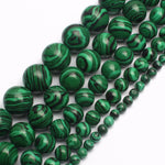 Natural Malachite Gem Round Loose beads for jewelry Bracelet ,Necklace, making 15inches/strand free shipping 4/6/8/10mm-geekbuyig