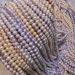 "JYX Wholesale Natural Cultured Near Round Freshwater Pearl Strings DIY Jewelry For Necklace 15""-geekbuyig"