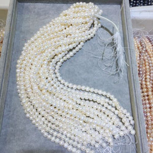 "JYX Natural Freshwater White Pearl Beads 14-15"" 8mm 9mm 10mm DIY Jewerly Making-geekbuyig"