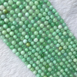 "High Quality Natural Genuine Green Burma Jade Round Loose Gemstone Jewelry Gemstone Faceted Beads 4-12mm 15"" 05705-geekbuyig"