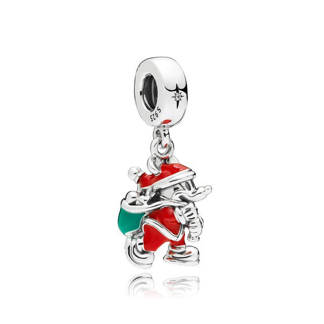 NEW 100% 925 Sterling Silver Limited Edition 90th Anniversary Hanging Charm Santa Candy Cane Pendant Bracelet Original Jewelry-geekbuyig