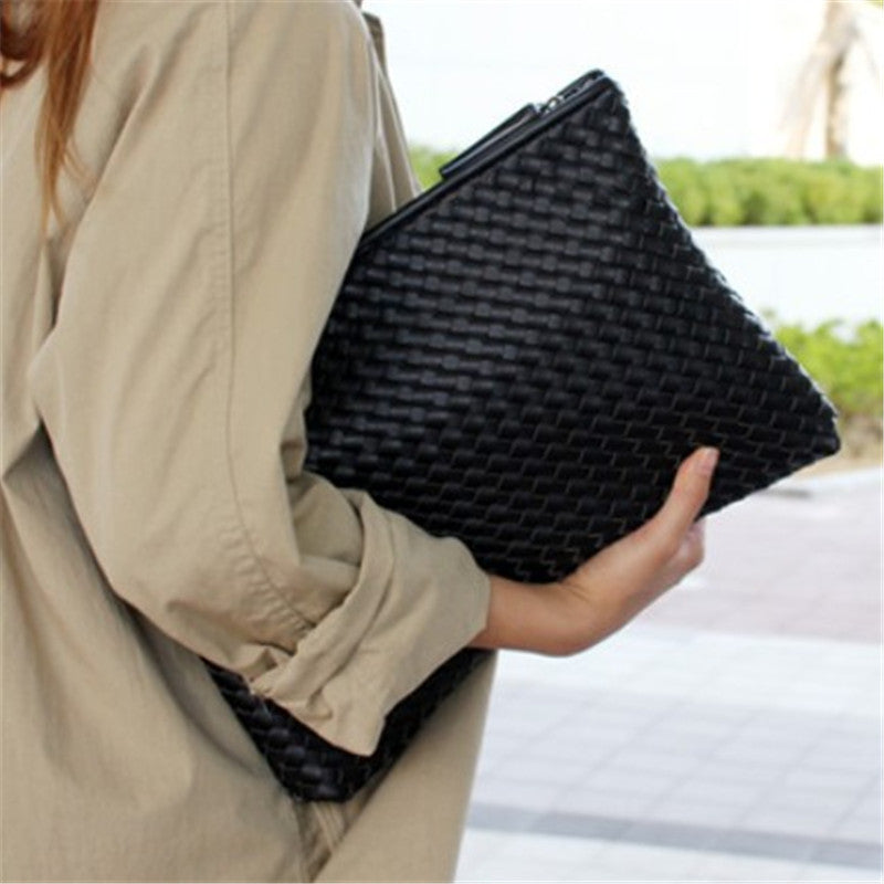2019 Kpop knitting women's clutch bag PU leather women envelope bags clutch evening bag Clutches Handbags black free shipping-geekbuyig