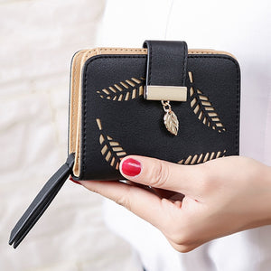 2018 design women's purse zipper Leather ladies wallet women luxury brand Small female wallet Hollow Leaves for credit cards-geekbuyig