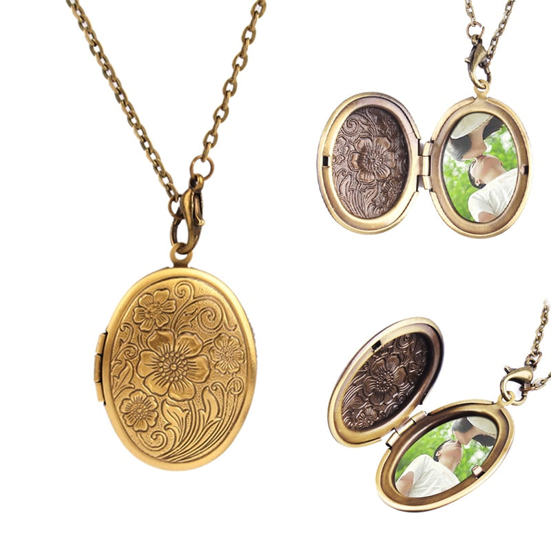 1pc Hot Sale Bronze Flower Pattern Photo Frame Locket Party Dress Necklace Pendant #60405-geekbuyig