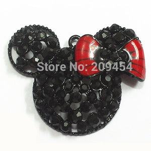 ( Choose Color First ) 48mm Black Minnie With Bow Rhinestone Pendants-geekbuyig