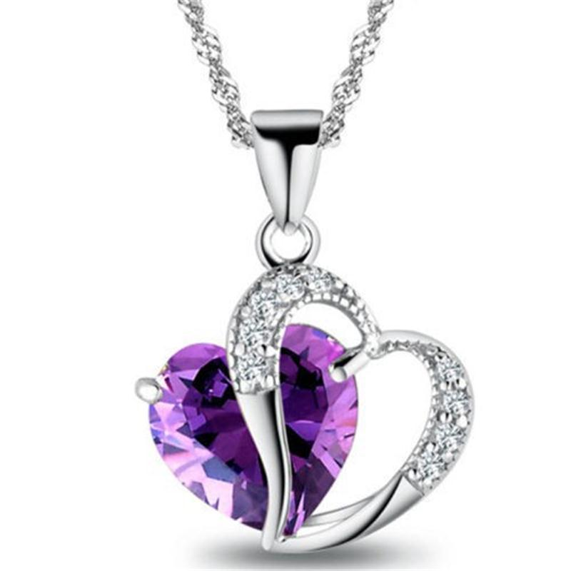 1 PC 7 Colors Top Fashion Class Women Girls Lady Heart Crystal pendentif amethyste Maxi Statement Pendant Necklace NEW Jewelry-geekbuyig