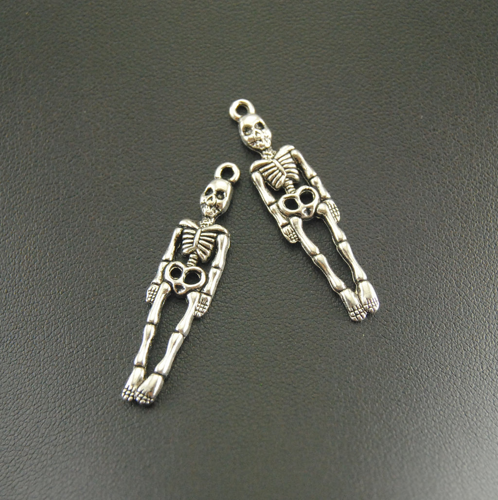 10 Pcs Antique Silver Skeleton Body Skull Charm Bracelet Necklace Jewelry Making Handmade DIY 39x9mm A859-geekbuyig