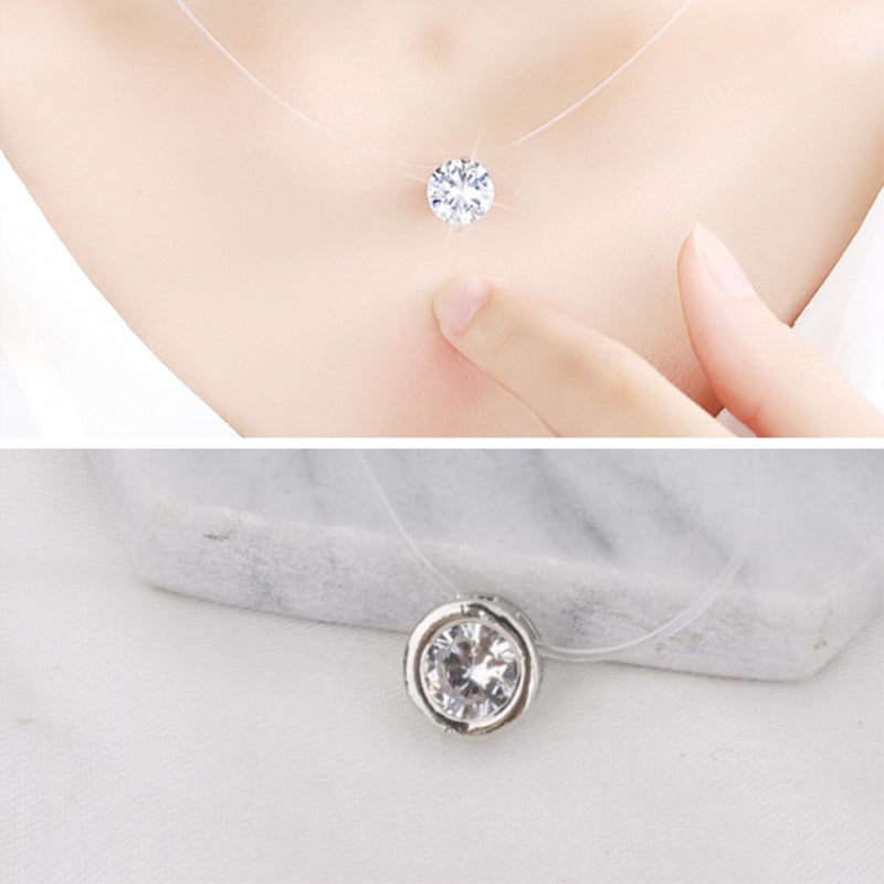 Fashion Women Elegant Dazzling Zircon Necklace Jewelry Simple Pendant Neck Chain Invisible Transparent Fishing Line Necklace-geekbuyig
