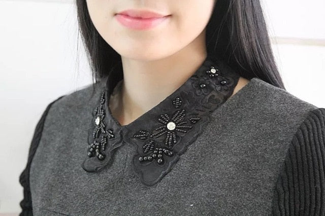 MIARA.L torques black lace beaded collar choker collar necklace fake collar women 's clothing accessories sweet false collar-geekbuyig