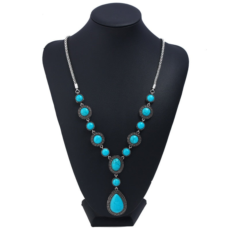 JAVRICK Blue Tibetan Alloy Waterdrop Pendant Round Beads Necklace For Anniversary/Engagement/Gift/Party/Wedding Jewel-geekbuyig