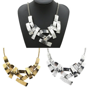 LNRRABC Statement Women Collar Chain Elegant Irregular Geometric Metallic Chunky Bib Necklace Pedant Free Shipping-geekbuyig