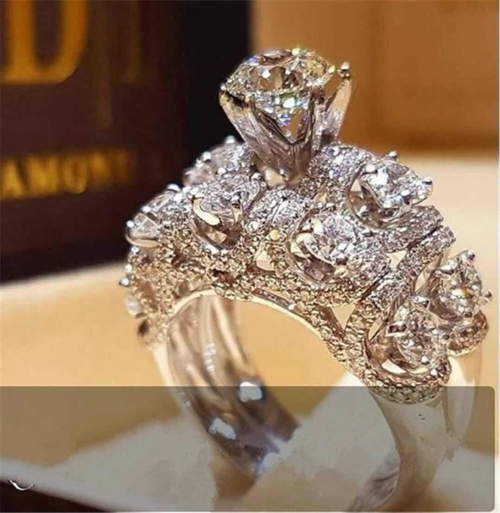 Luxury Female Crystal Zircon Ring Set Boho 925 Silver Wedding Rings Jewelry Bridal Sets Promise Engagement Rings For Women-geekbuyig