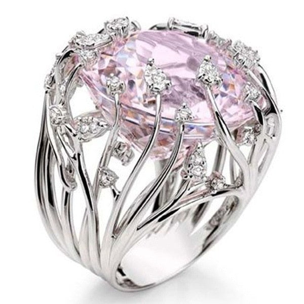 2019 New Fashion Big Pink Zircon Stone Ring Female Girls Luxury 925 Silver Wedding Jewelry Promise Engagement Rings For Women-geekbuyig