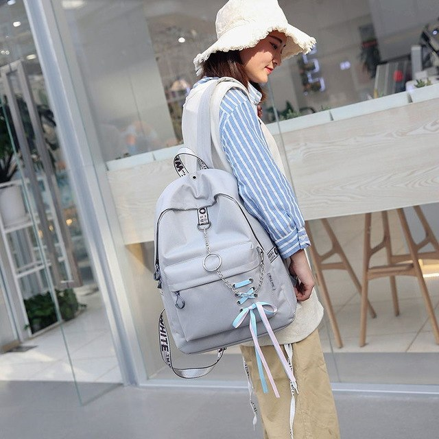 New Arrival Fashion big capacity shopping bag laptop backpack Black rucksack canvas bags student womens Bags Hot Sale Teenage-geekbuyig
