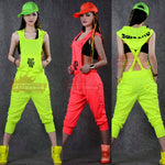 2015 New fashion Hip Hop Dance Costume performance wear European loose leopard harem jazz jumpsuit one piece Pants-geekbuyig